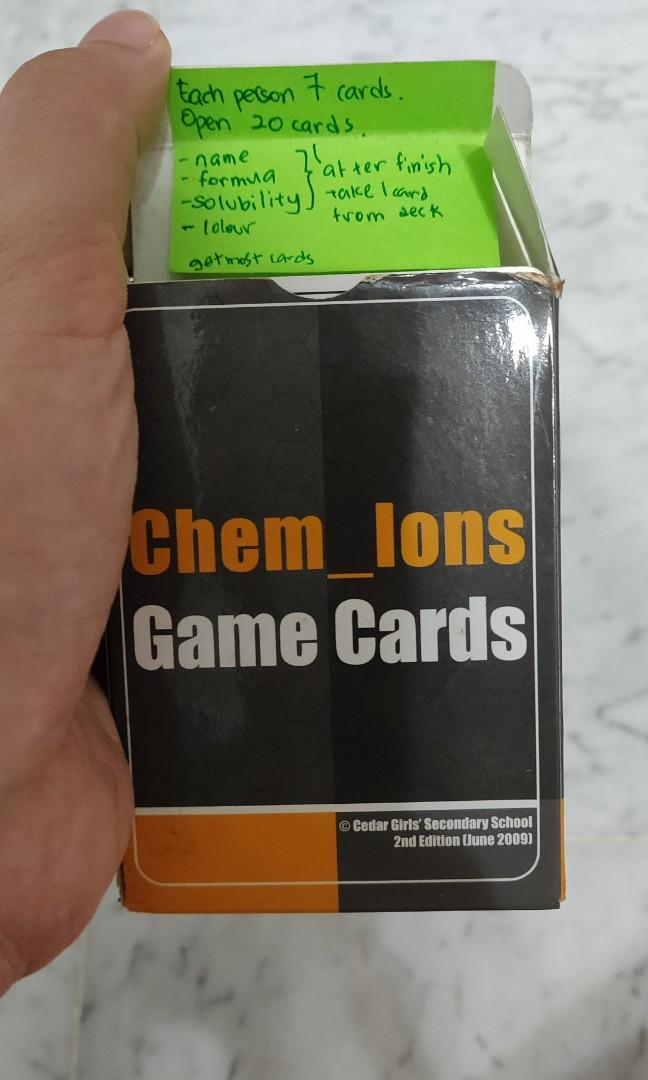[CEDAR GIRLS' SECONDARY SCHOOL] Chem Ions Game Cards