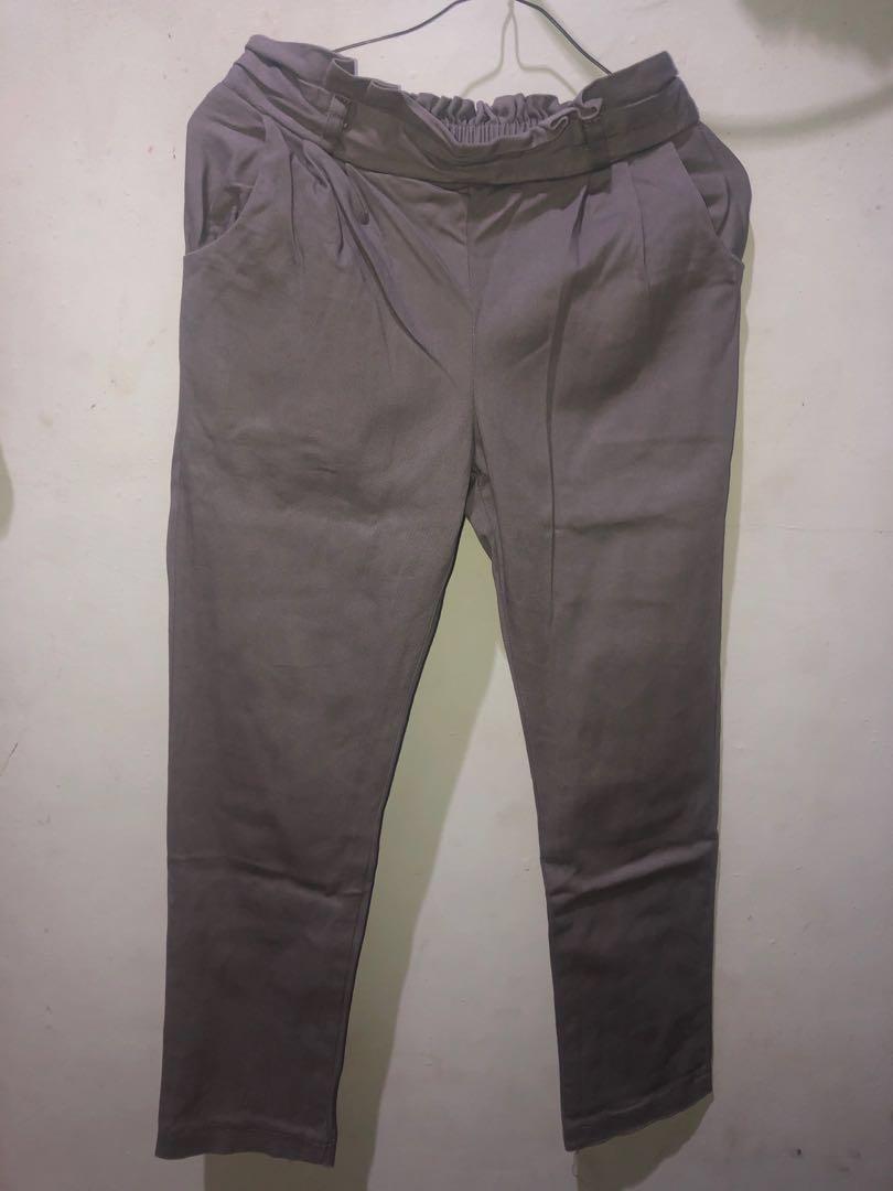 celana bahan abu2, #mudikhemat