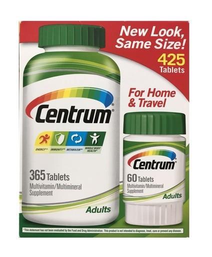 (優惠增量)善存美國Centrum 銀善存(適合50歳以上)365粒大樽送旅行裝粒共425粒到期日2020年Centrum Adults Multivitamin, 425 Tablets MultiVitamin MultiMineral Supplement