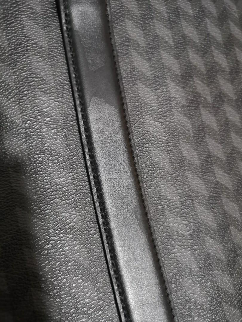Coach Herringbone Pattern Briefcase Business Crossbody Black Leather Laptop Bag