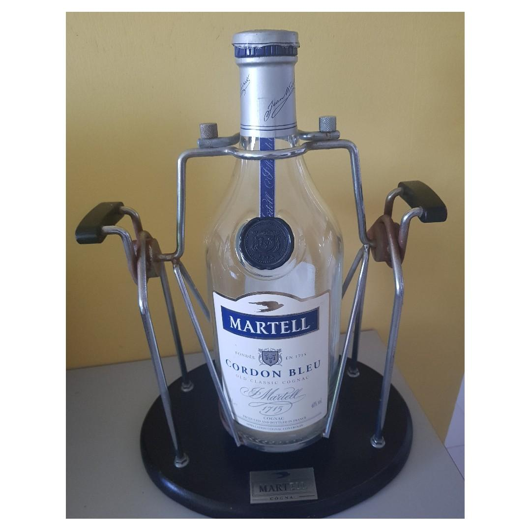 EMPTY CONAC & WHISKY BOTTLE WITH STAND