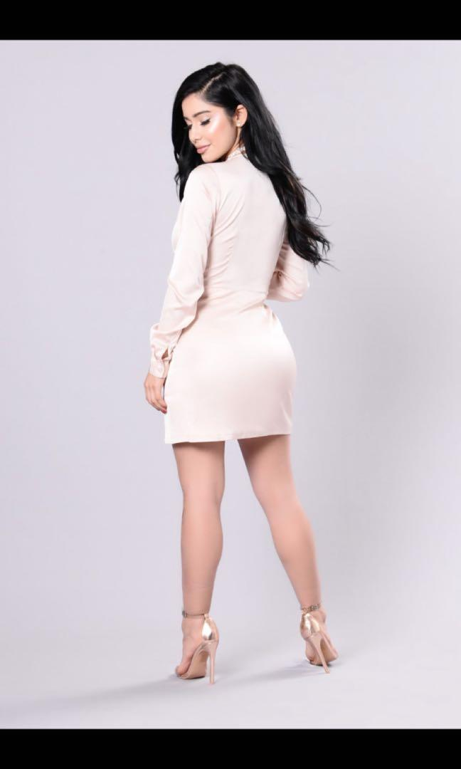 fashion nova taupe sugar free satin dress