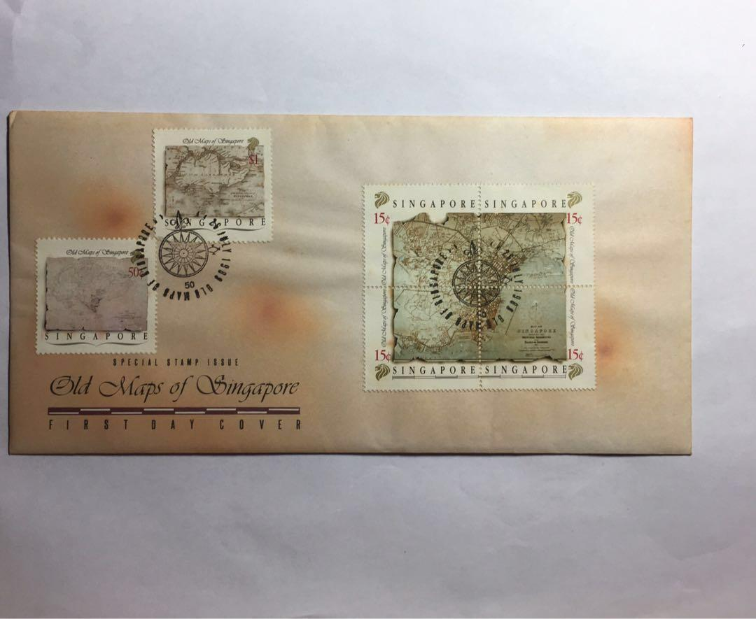 First day cover - old maps of Singapore