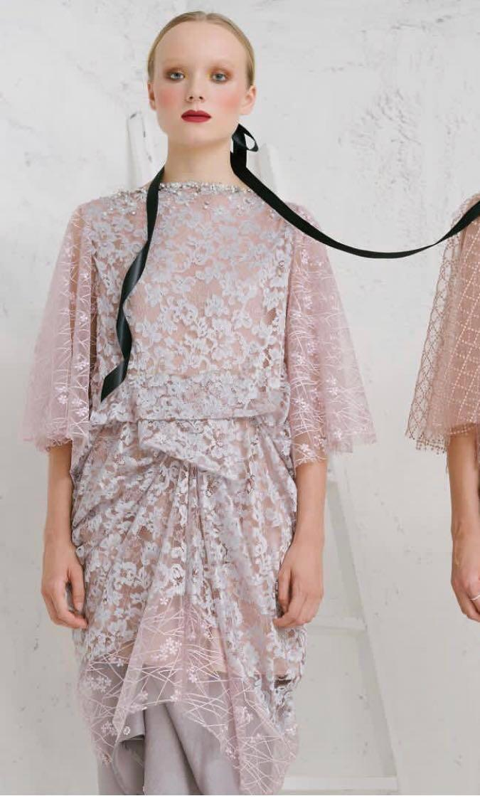 For Rent : Myvb CHLOE DRAPERY BROCADE TULLE TUNIC in powder blue and abby beads skirt in silver grey