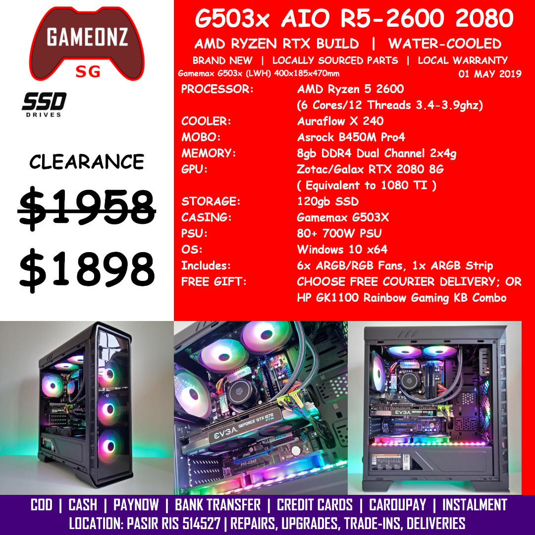 FREE DELIVERY BUDGET GAMING PC GAMEMAX G503X AMD RYZEN 5 2600 RTX 2080 8G  BUILD BUDGETG503X AIO R5-2600 RTX2080