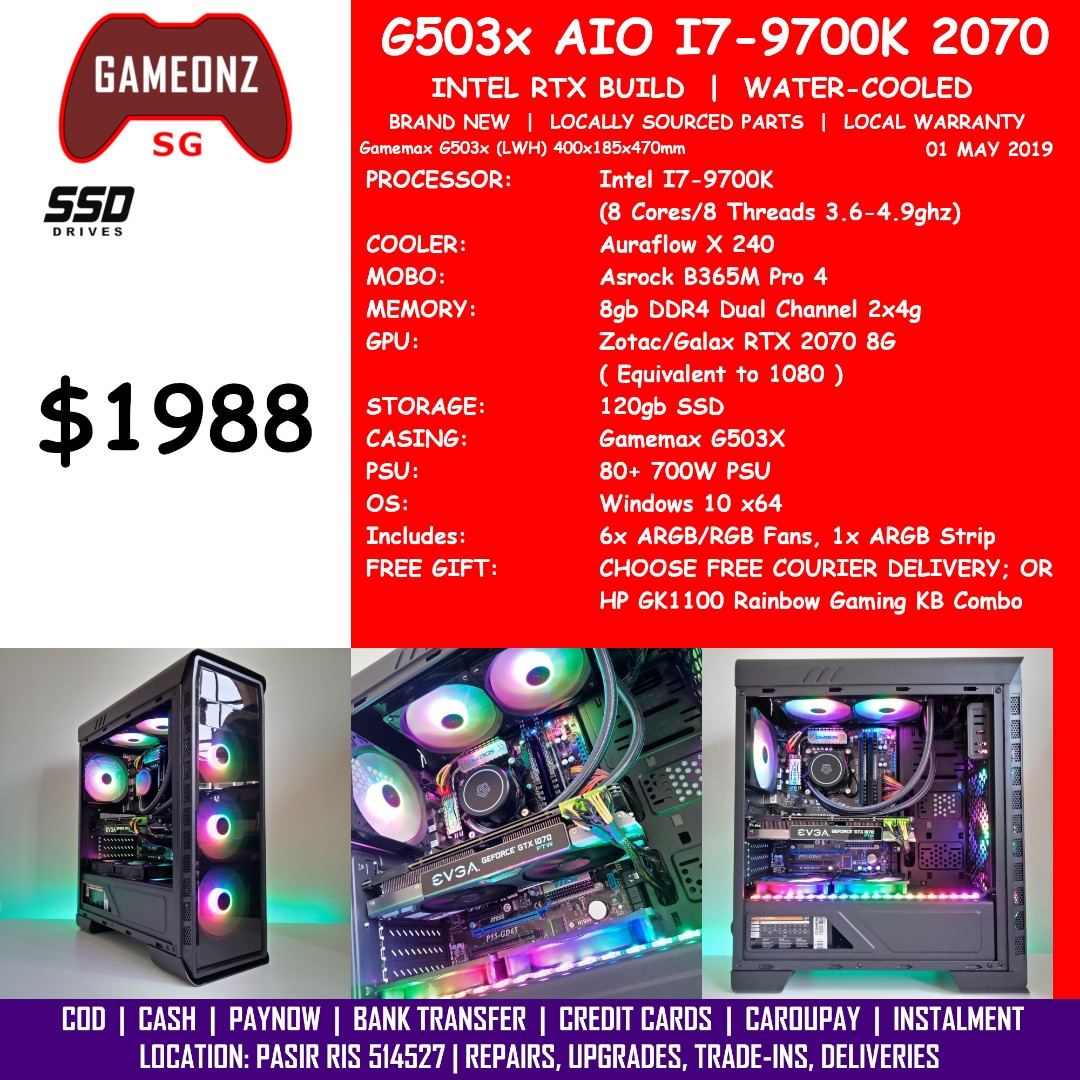 FREE DELIVERY BUDGET GAMING PC GAMEMAX G503X INTEL I7-9700K