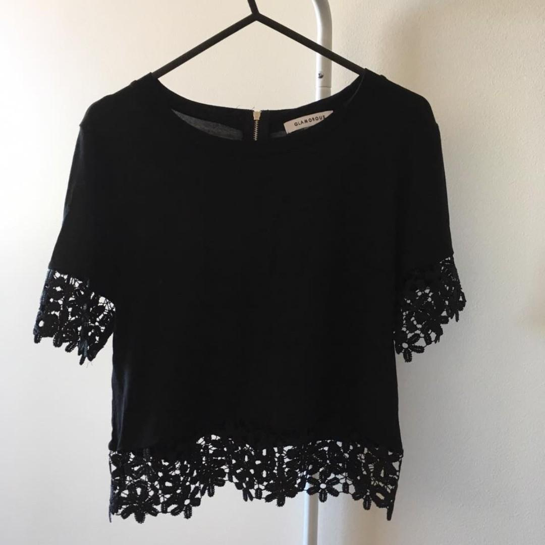 Glamourous Black Crop Top (Aus Size S)