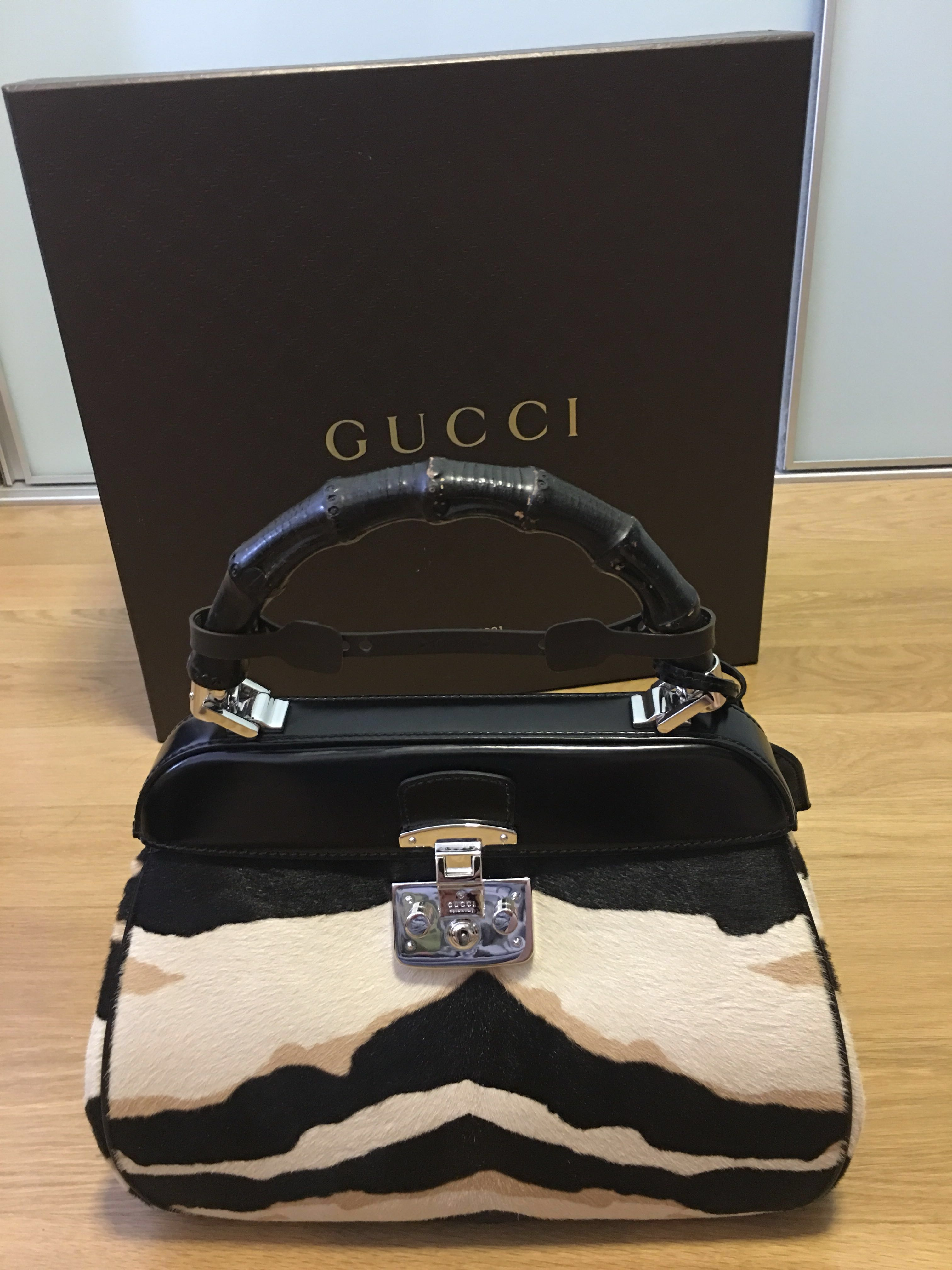 e342470fed96 GUCCI Lady Lock Tiger Medium Calf Hair Bag, Luxury, Bags & Wallets ...