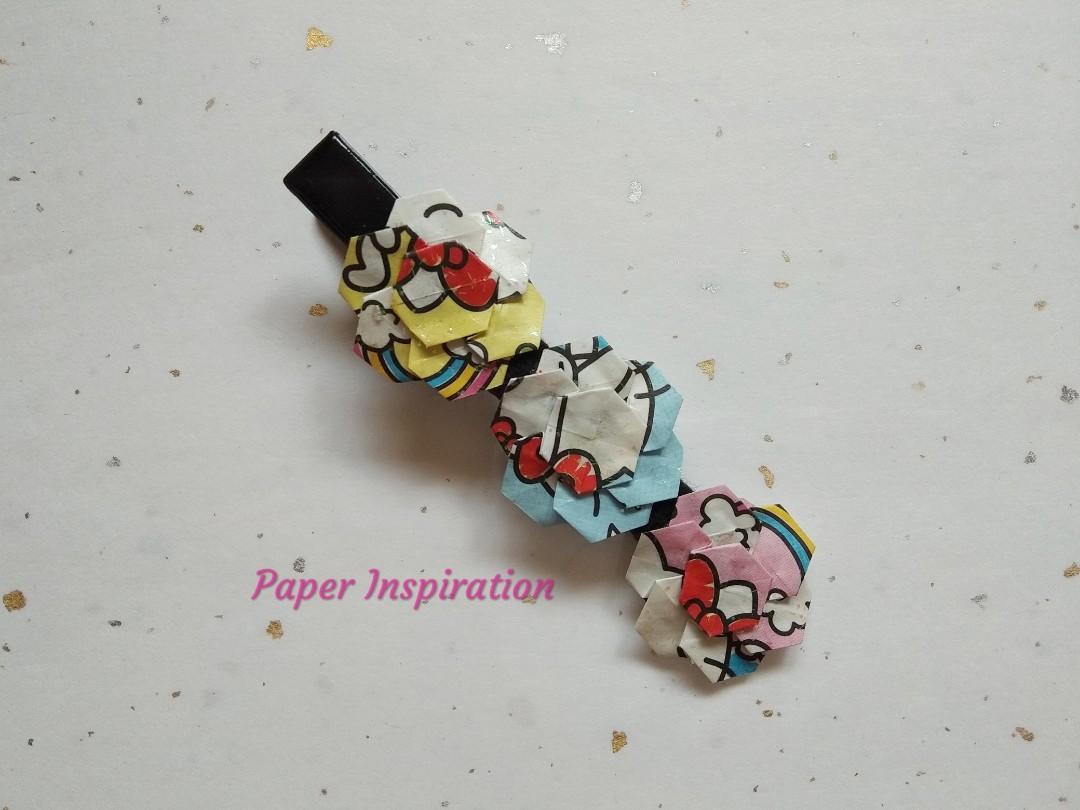 Handmade origami hairclip - Hello Kitty mix