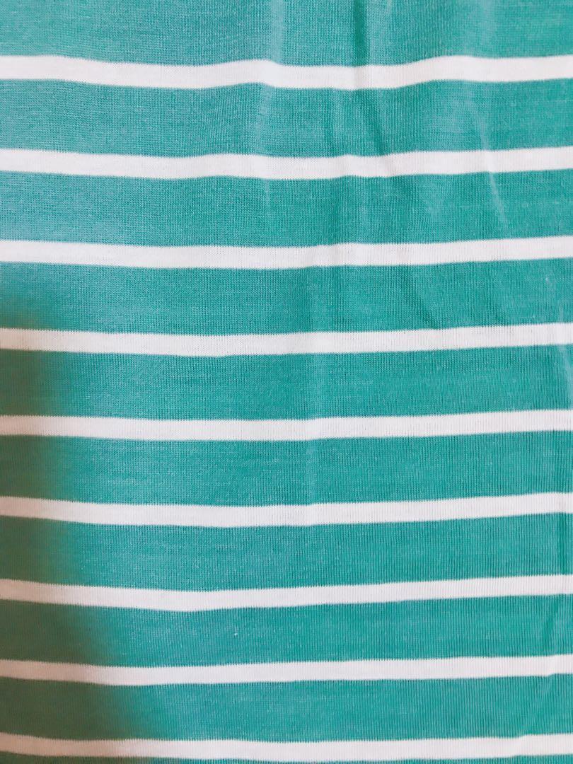 Korea Green stripe top with ribbon Free Size New