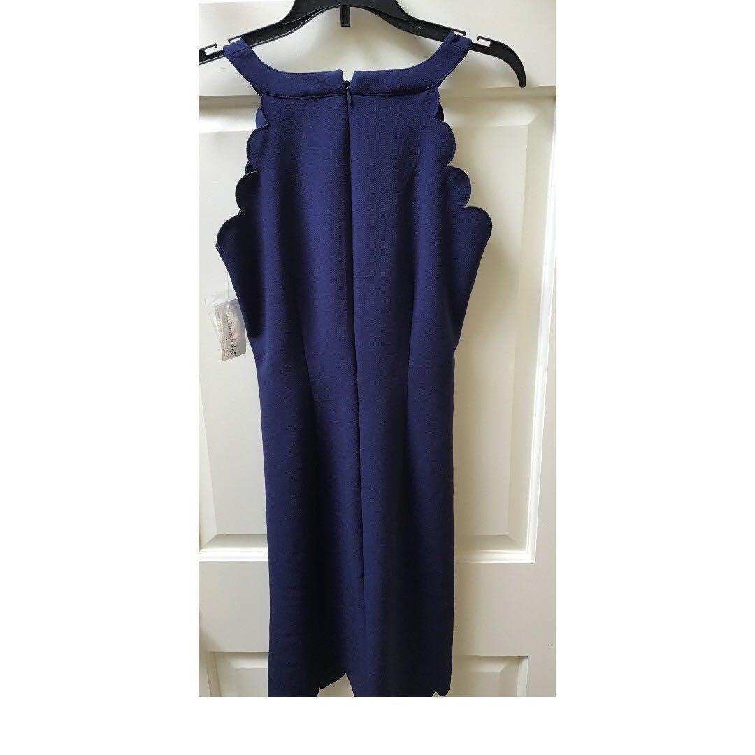 MAISON JULES Blue Scalloped-hem Sleeveless Sheath Dress Graduation/Weddings/Summer Socials NWT