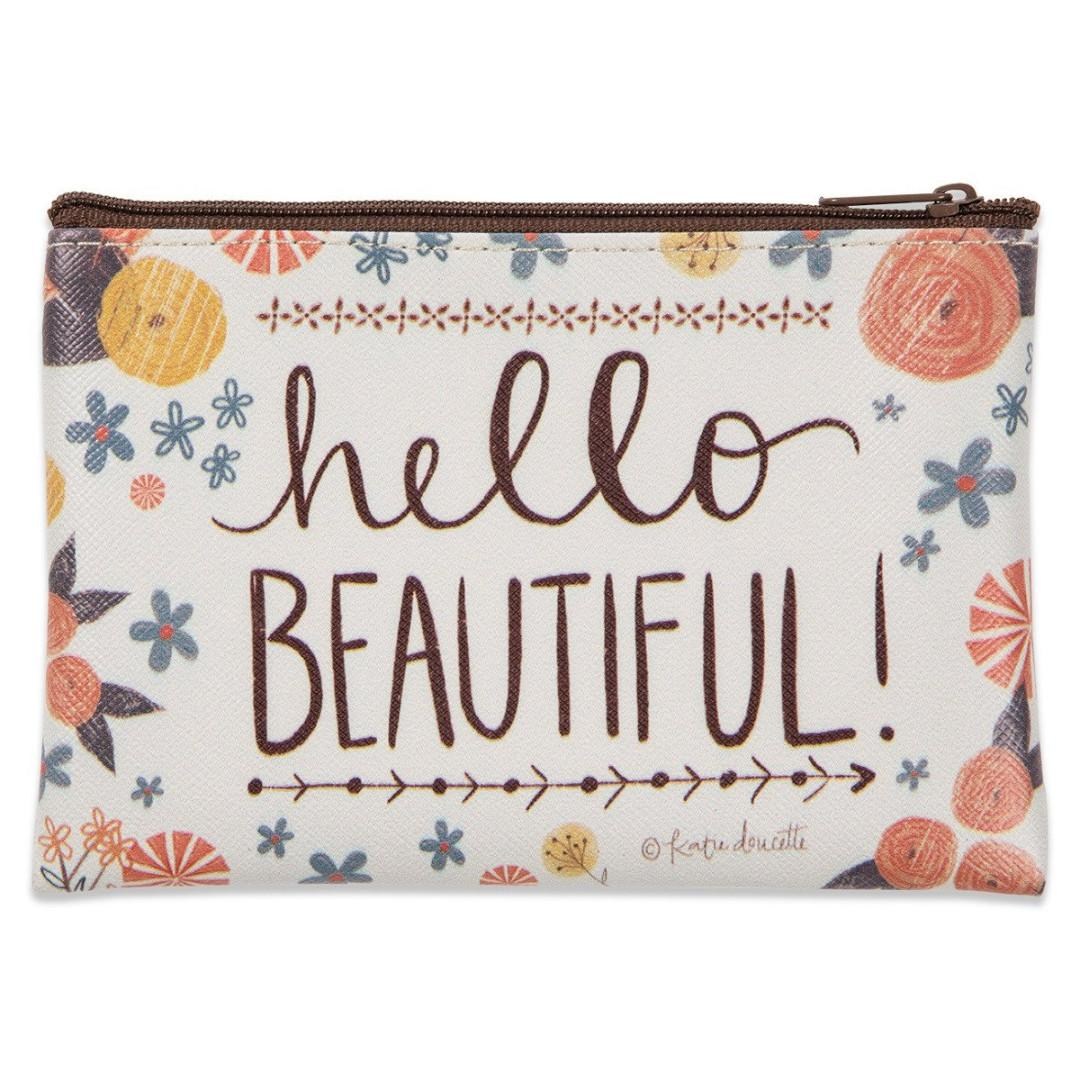 NWOT Coated canvas Hello Beautiful Zippered Coin Purse by Katie Doucette