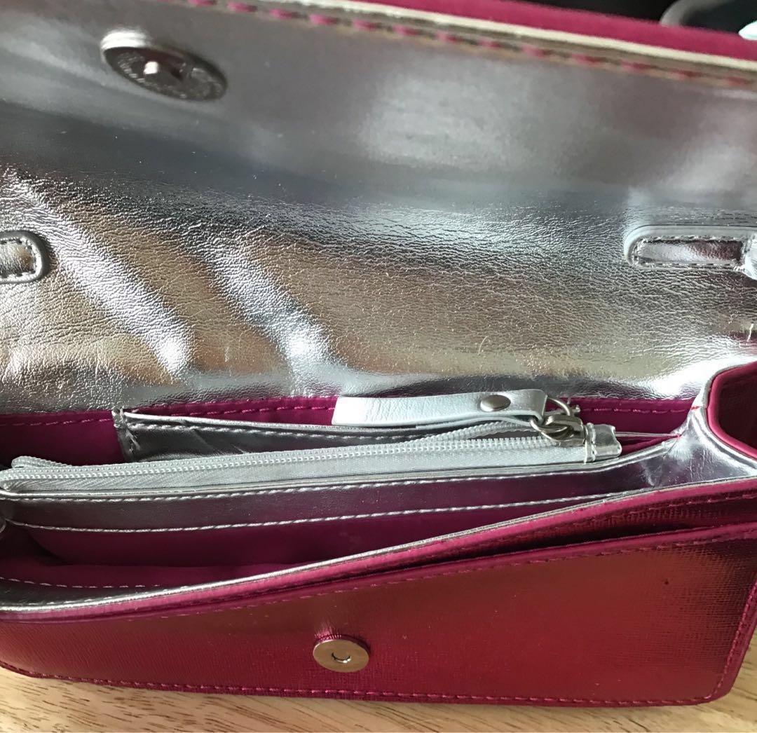 NWOT Metallic Fuchsia Nine West Structured Shoulder Bag W/Chain Accent Strap