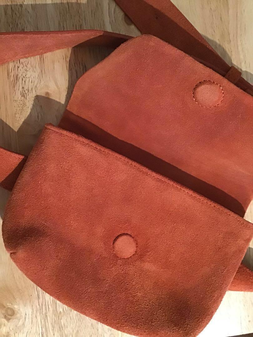 NWT 'Free People' Burnt Orange/Sienna Suede Leather Belt Bag