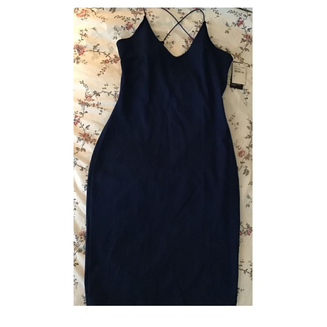 NWT 'Free Press' Blue Bodycon Open-Back Strappy Dress Sz Med.