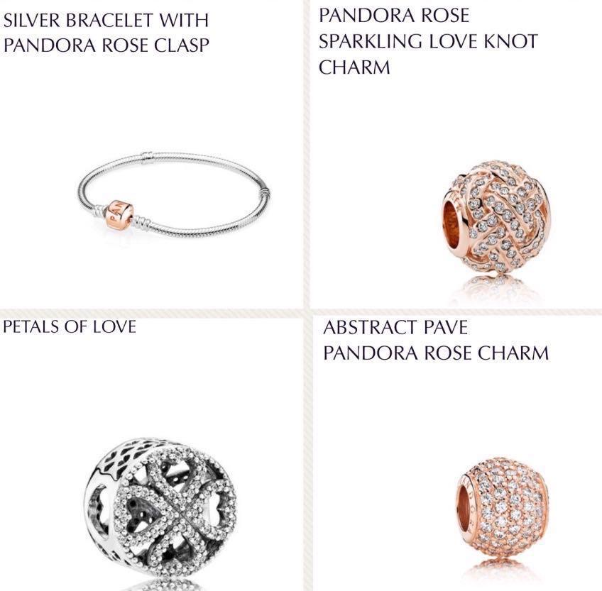 fa184e219 Pandora rose gold bracelet + charms, Women's Fashion, Jewellery ...