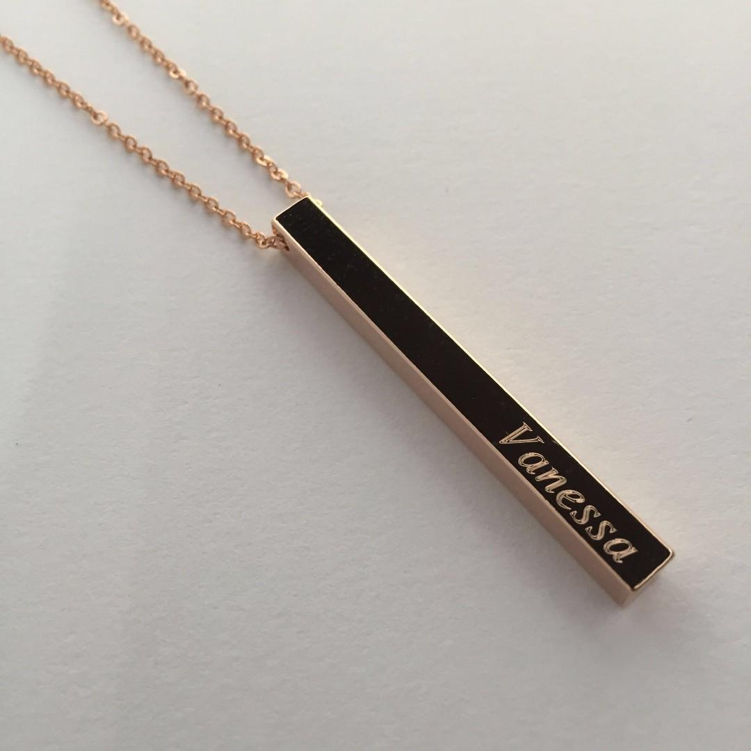 Personalised Vertical Name Bar Necklaces