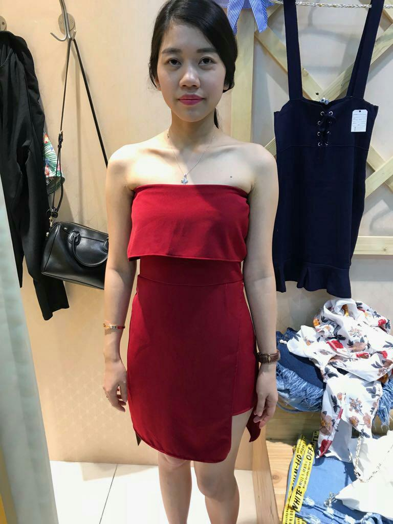 Red Dress kemben sexy merah premium elegan