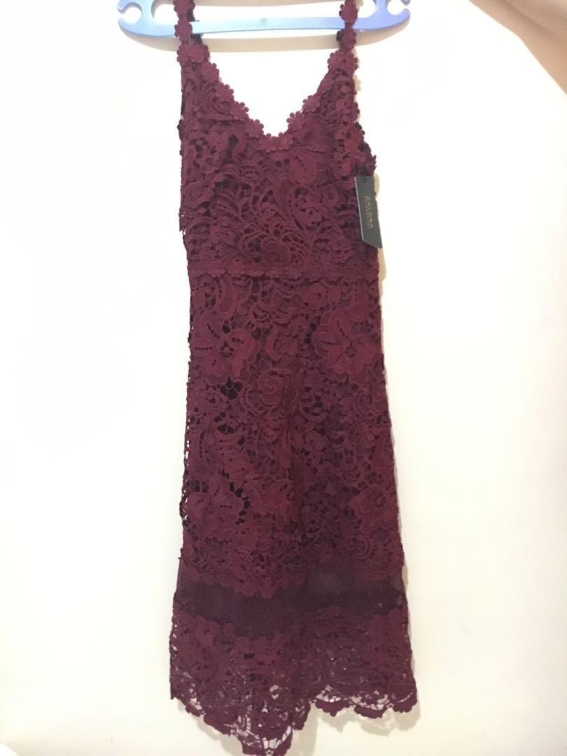 Red Lace Midi Dress
