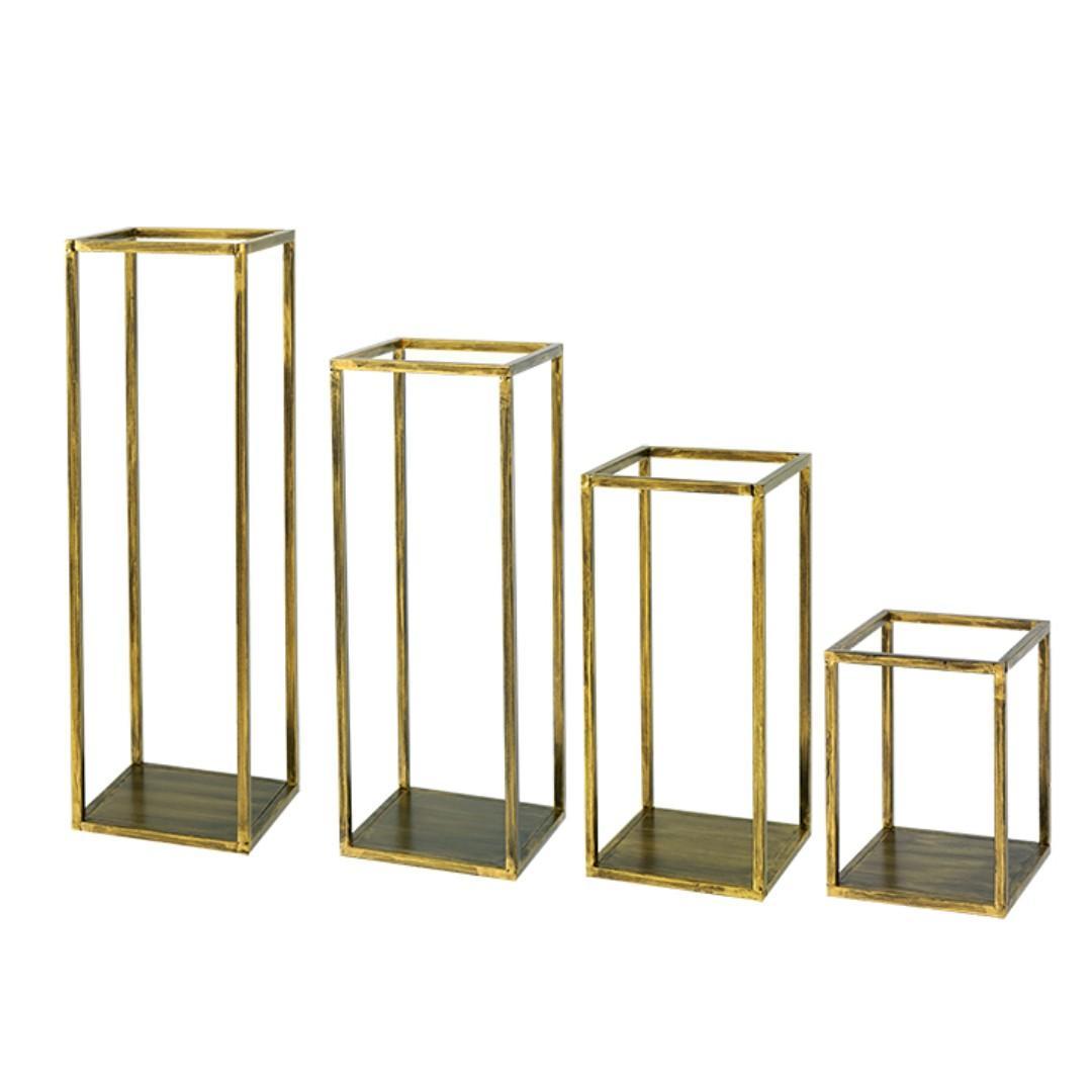 RENTAL: D198A DARK GOLD DESERT RECTANGLE STANDS (4 IN A SET)