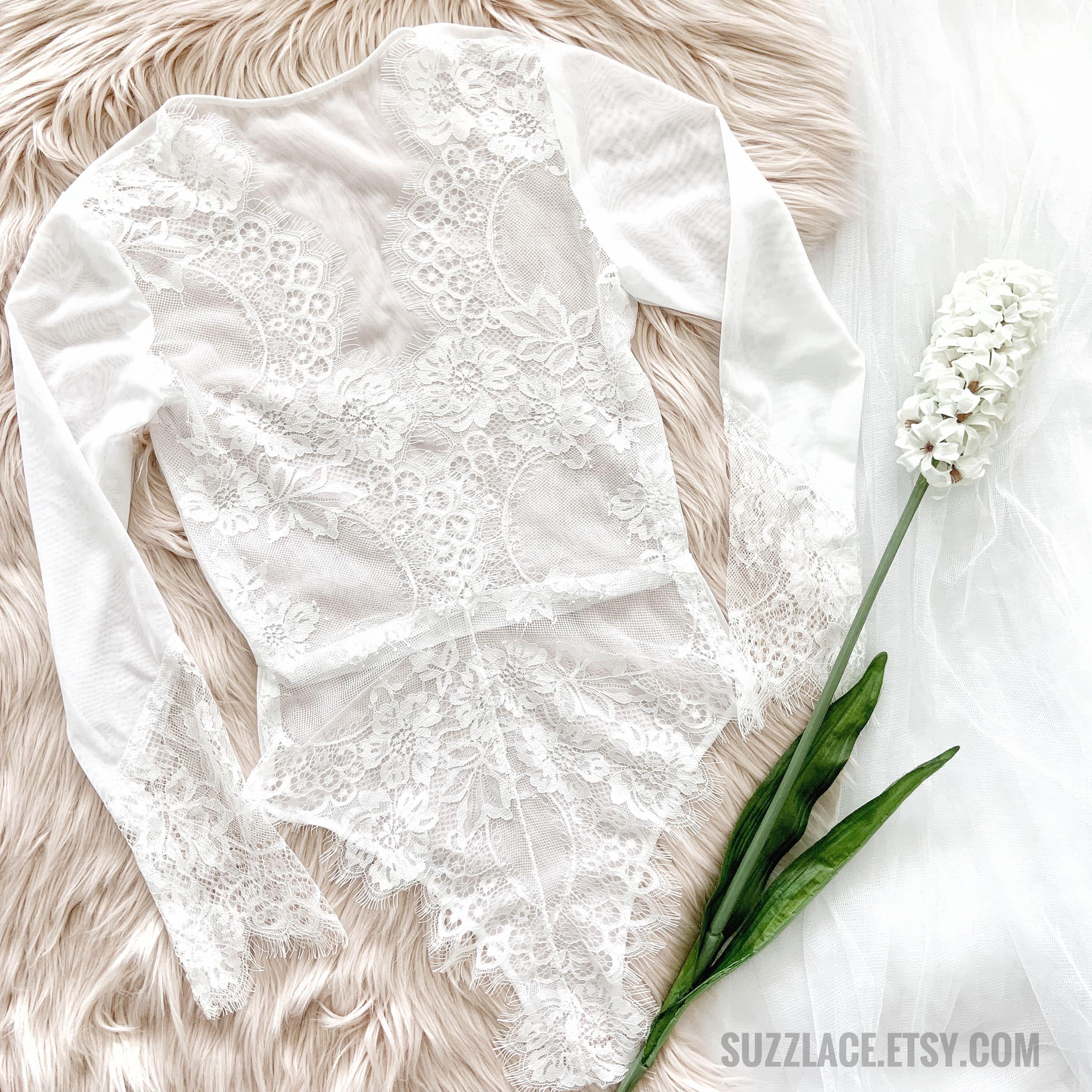 Scalloped Lace Deep V Long Sleeves Bodysuit, Boho Lingerie Set, Bridal Shower Gift
