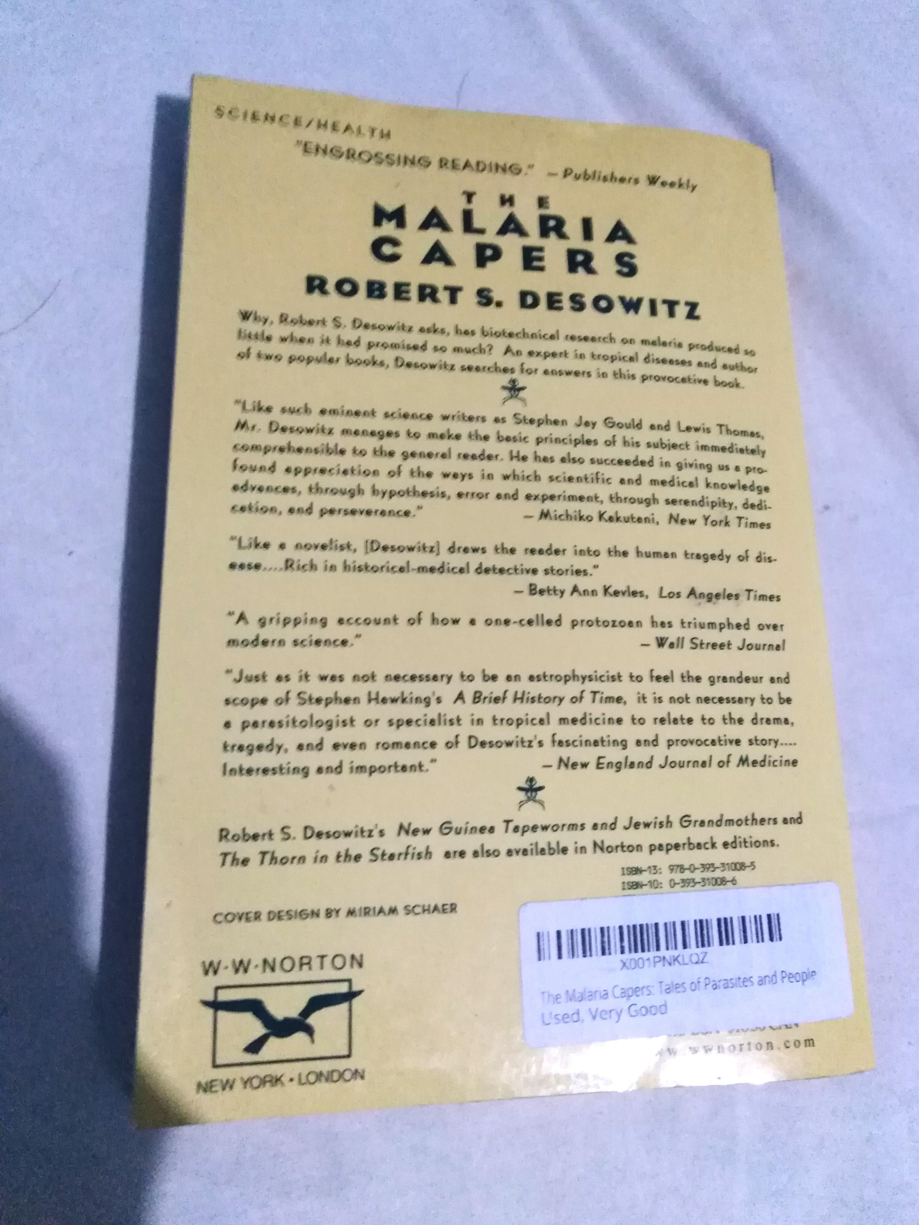 Science NonFiction] THE MALARIA PAPERS: Tales of Parasites