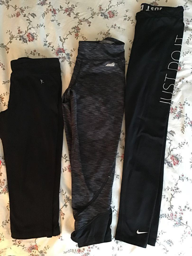 Set of 3 Fitness Exercise Pants 3 Lengths Black Sz. Small