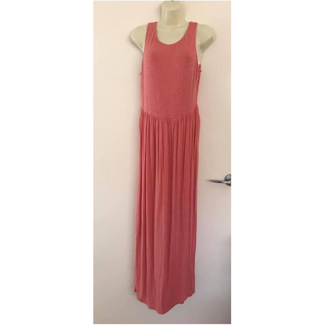 Size M fits 12 ladies Vgc Coral Soft Sleeveless Mix Appeal Size M Maxi Dress