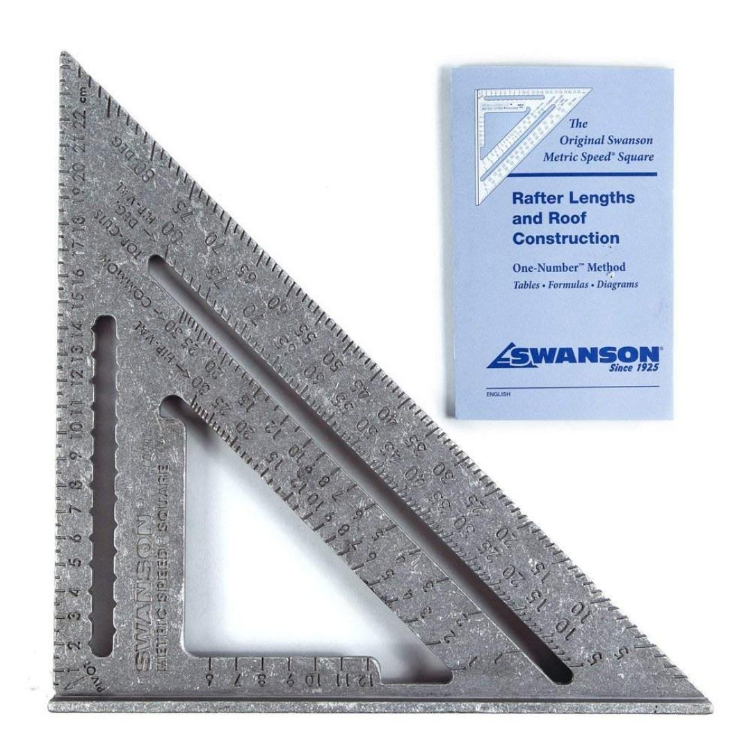"""Swanson Speed Square Wood Working Tool USA 7"""" with Blue Book Ruler Combination Square [35% DISC]"""