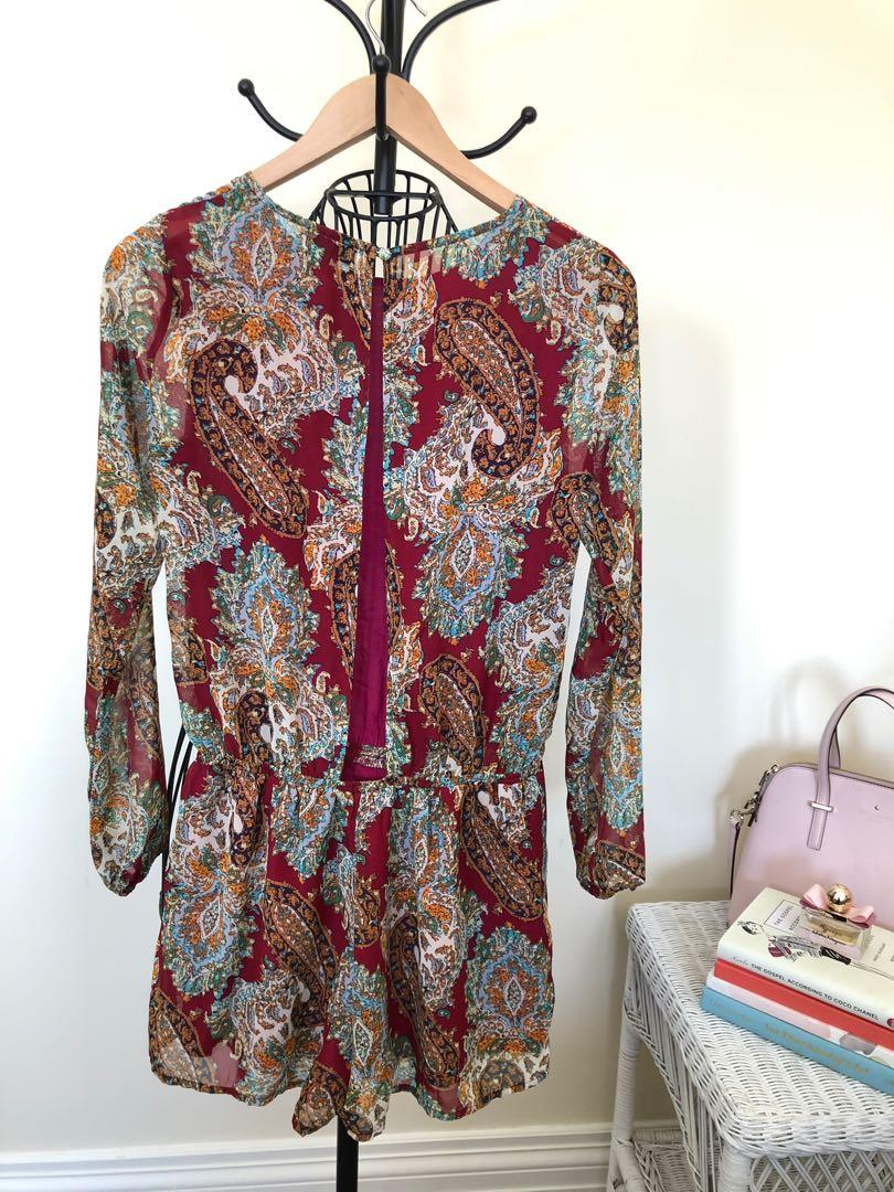 Urban outfitters LUCCA wine red paisley jumper - size S