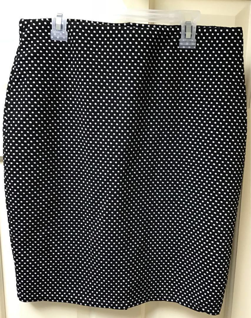 Women's Black and White Fitted Skirt w/Pattern Sz M