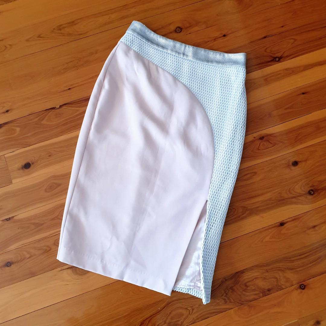 Women's size 10 'SHEIKE' Stunning blush and silver side split skirt