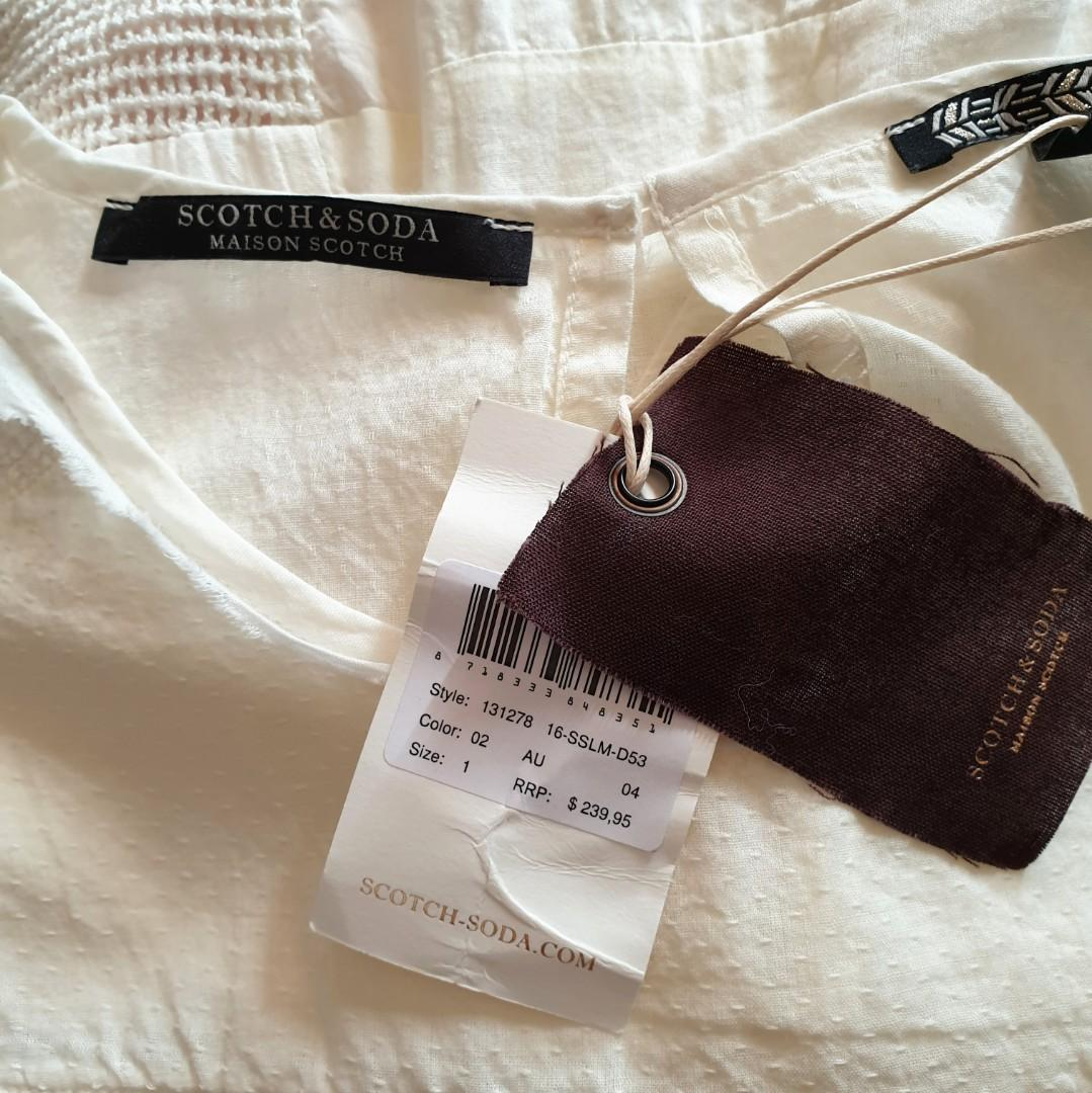 Women's size 1 = 8 'SCOTCH & SODA' Maison Scotch Gorgeous off white multi textured top blouse RRP$239 - BNWT