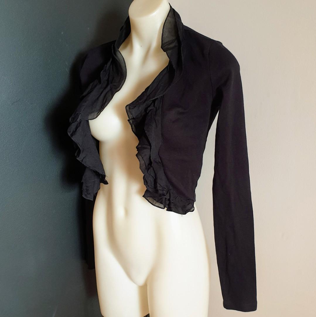Women's size 2 'KOOKAÏ' Gorgeous black long sleeved cropped cardigan - AS NEW