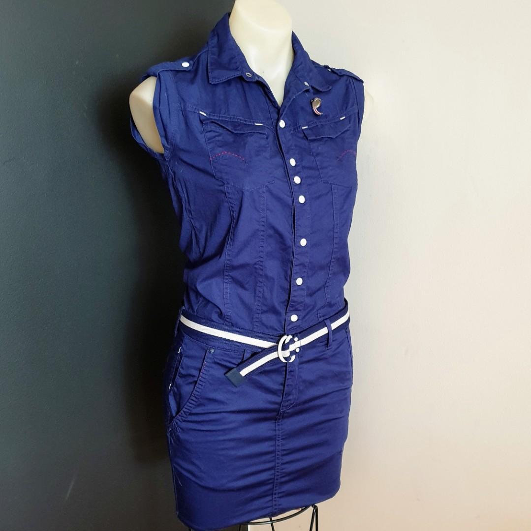 Women's size S 'G-STAR RAW' Stunning navy blue nikki mix sleeveless dress with belt- AS NEW