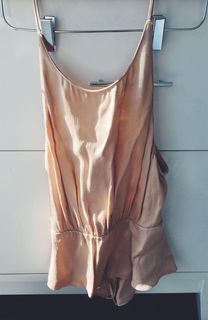 Zara Peplum Nude Blouse
