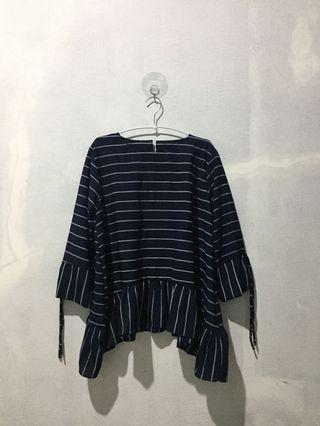 Atasan Stripe Garis Navy