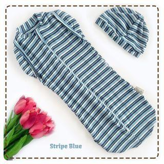 🚚 Instant Zip Hybrid StripeBlueGreen Swaddle