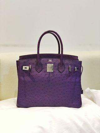 8c96a9141613 Mint Condition Hermes Birkin 30cm B30 Ostrich Violine Purple PHW