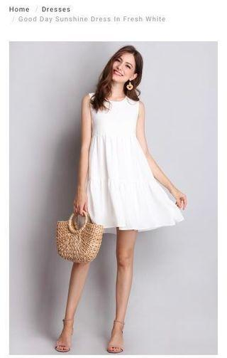 🚚 LilyPirates Good Day Sunshine Dress in Fresh White
