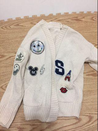 米白色針織毛衣外套