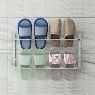 雙層不鏽鋼無痕牆壁拖鞋掛架[可容納四對鞋]