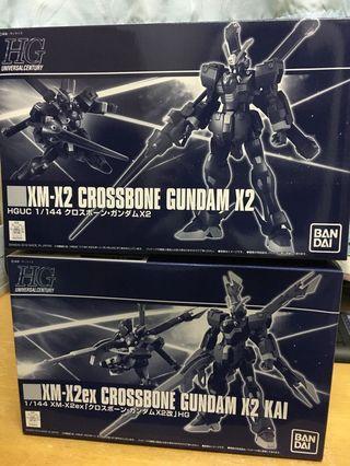 高達模型 P Bandai 限量版 HGUC 1/144 CROSSBONE GUNDAM X2 +  X2 KAI 海盜高達 海賊 骷髏 十字先鋒 F97 查比尼 專用機