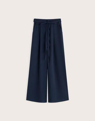 Pazzo黑藍簡約質感打摺寬褲(無綁帶)