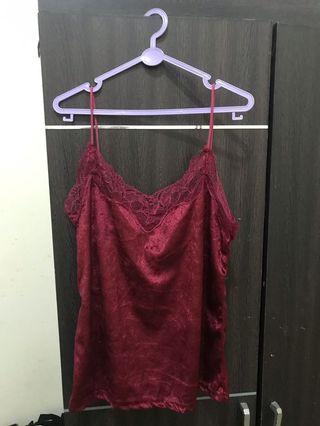 Lace top velvet maroon