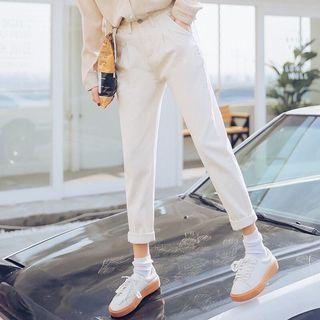 🚚 白色牛仔直筒褲