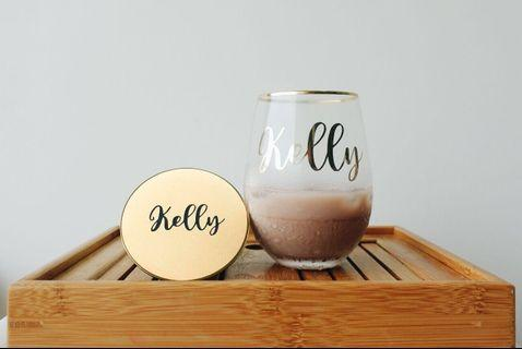 Gold rimmed drinking glass (personalised gift) mug