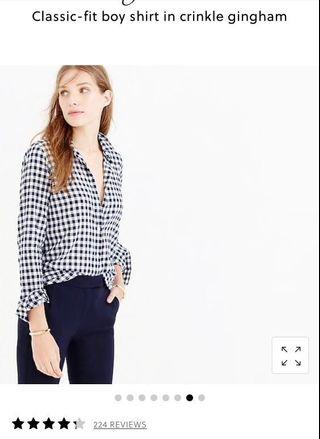 JCrew check shirt blue and white