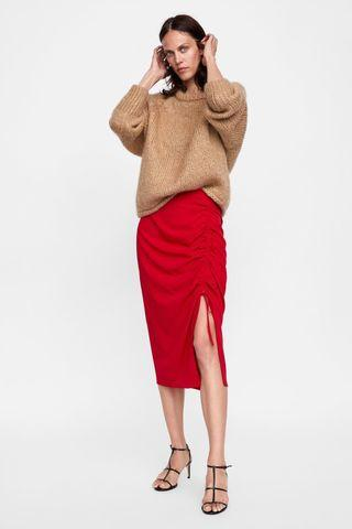 Zara Red Skirt With Front Ruching