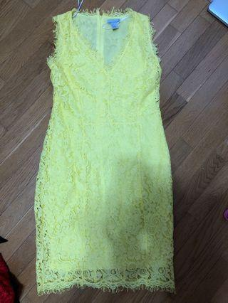 H&M size small bright yellow pencil dress